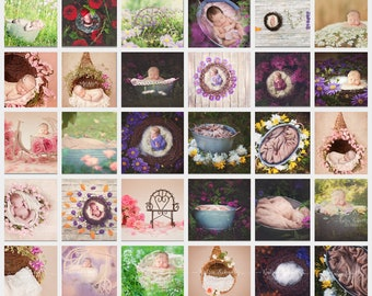 Bundle 100 digital Backdrops for newborn photography composites naturally and dreamy!