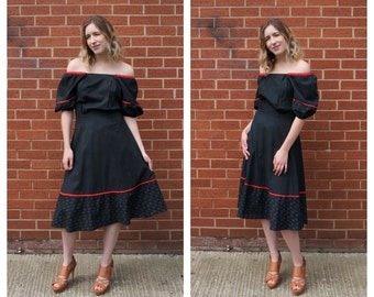 1970's black and red cotton dress with off the shoulder puff sleeves