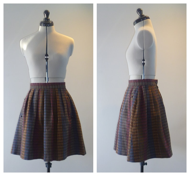 1960/'s Size S brown wool A-line mini skirt