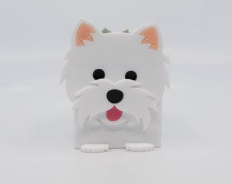 Westie Dog Planter, Westie Container, Cute Desk Organization Containers, Easter Container, Laser Cut Kawaii Candle Holder, Plant Holder