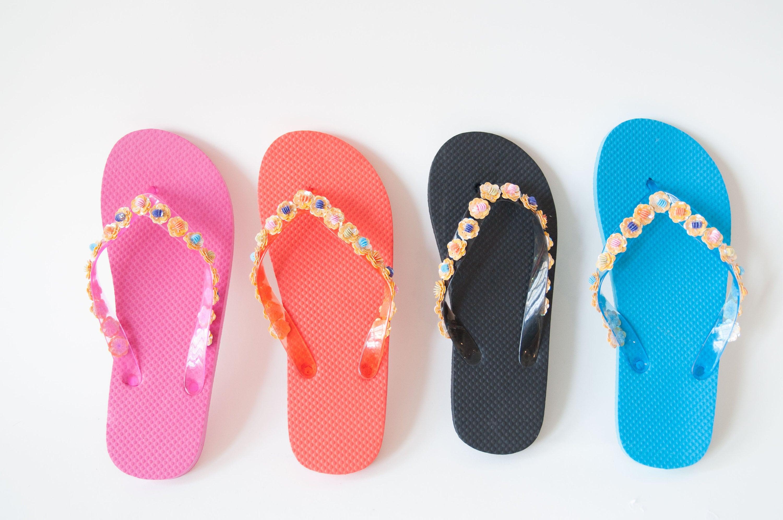 10efc0b04890ef Glitter Flip Flops Glittery Bridal Sandals Beachy Flower
