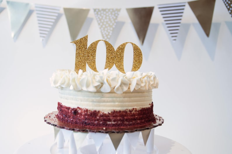 100 Cake Topper 100th Birthday Decor