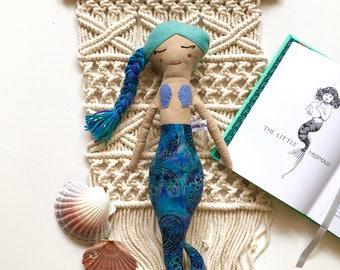 Teal Haired Mermaid Doll// Handmade Doll// Fabric Doll// Cloth Doll// Rag Doll// Mini Mermaid Doll// Mermaid Toy// Keepsake Doll
