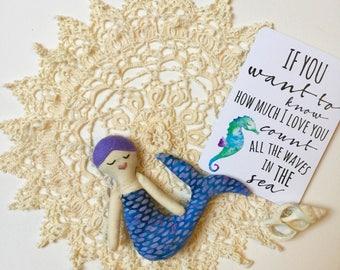 Lavender Scales Baby Mermaid Doll// Mermaid Doll// Cloth Doll// Rag Doll// Fabric Doll// Keepsake Doll// Handmade Doll// One of a Kind Doll/