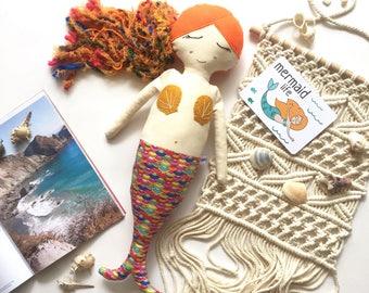 Orange Hair Mermaid Doll// One of a Kind Heirloom Doll//  Handmade Doll// Fabric Doll// Cloth Doll// Rag Doll// Keepsake Doll//