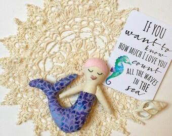 Purple Batik Baby Mermaid Doll// Mermaid Doll// Cloth Doll// Rag Doll// Fabric Doll// Keepsake Doll// Handmade Doll// One of a Kind Doll//