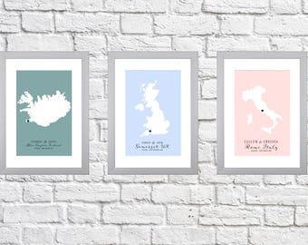 Engagement Map Print - Customisable, any location! The perfect gift.