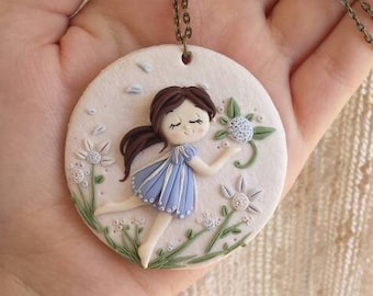 Baby girl pendant spring polymer clay floral doll necklace