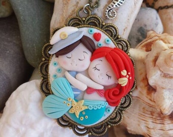 Mermaid and sailor Necklace in love polymer clay handmade necklace