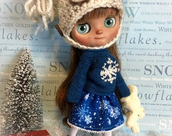 "Tiny *Snowflake on Deep Blue* Skirt for 8""Middie Blythe DoLLs...Lace Trimmed Skirt for Middie in Deep Blue & Snow White ~Cute Middie Clothes"