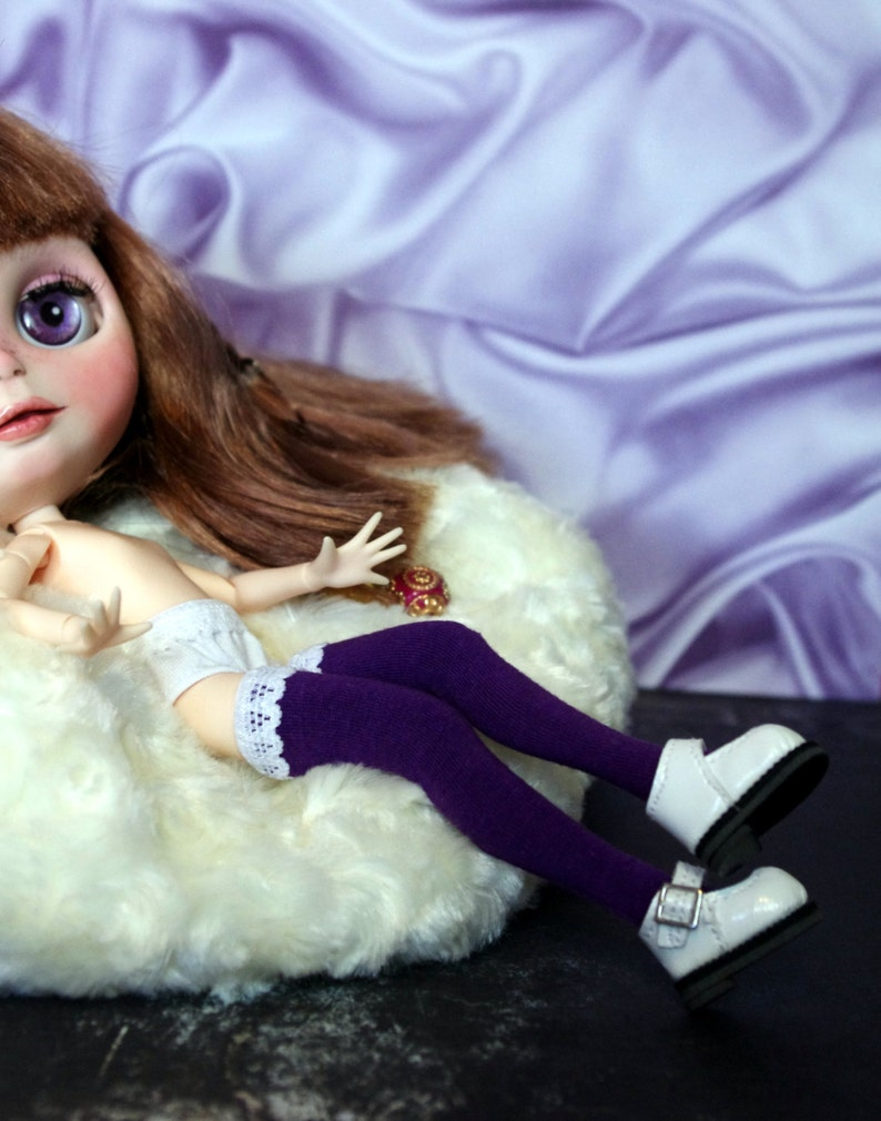 Color Me Purple~ thigh high socks for Neo Blythe DoLLs One Pair Fits Pure Neemo Small X Small /& Factory Stock Bodies STOCKINGS Azone SOCKS