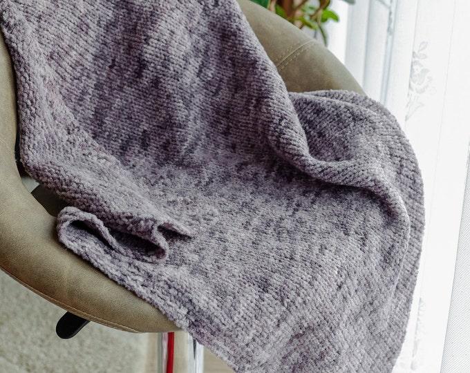 Designer baby blanket / wool blanket kids / knit blanket from merino - silk as a gift for newborn, overlay, crawl blanket grey mint blue