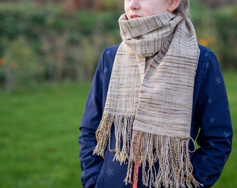 Merino scarf hand dyed and handwoven / handdyed & handwoven scarf wrap / loop, tube scarf / wool /scarf wool / weaving cowl / beige