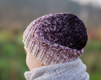 Merino winter hat with gradient for children and adults / hand dyed and hand knitted
