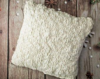Grobstrick-Kissen aus Merino Wolle