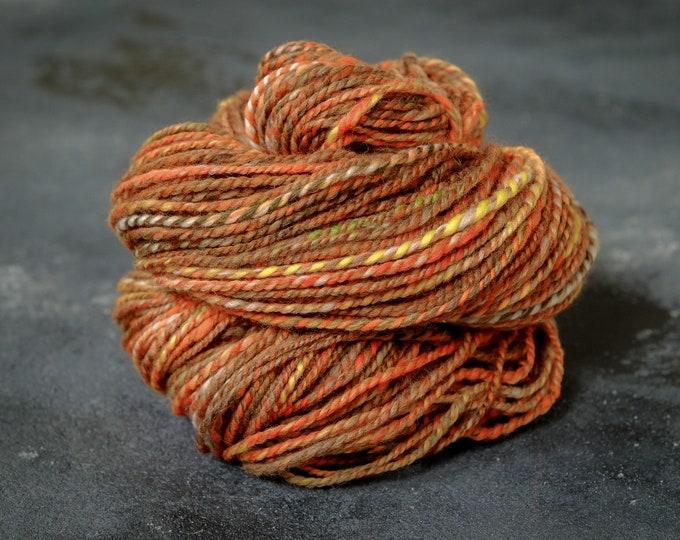 Hand spun yarn Merino - Silk / Art Yarn / hand spun wool / caressing wool / effect yarn / autumn colours