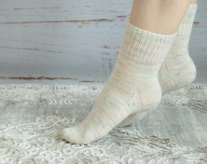 Socks hand dyed and hand knitted with alpaca wool