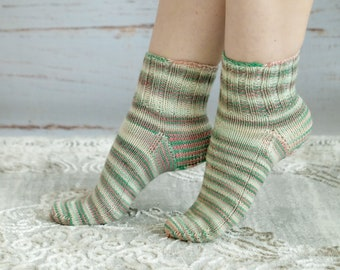 Socks hand dyed and hand knitted from merino wool