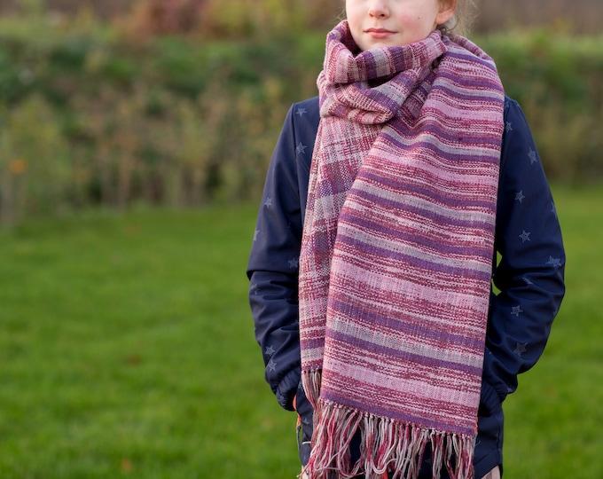 Handwoven Scarf, Loop, Scarf handwoven, Tube Scarf Purple Wool Scarf weaving cowl