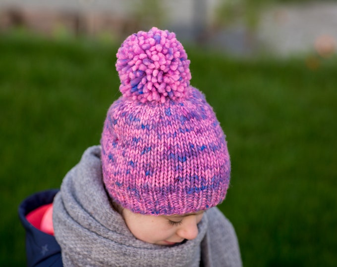 Merino winter hat with pompom for kids / hand dyed and hand knitted