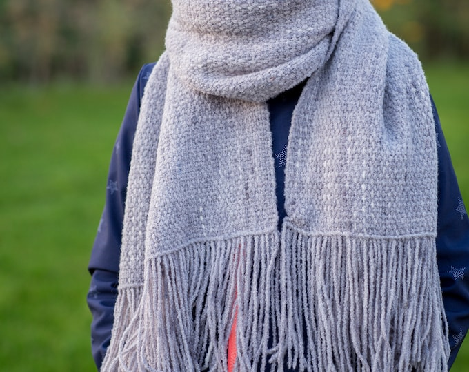 Merino silk scarf hand dyed and handwoven / handdyed & handwoven scarf wrap / tube scarf / wool /scarf wool / weaving cowl / grey