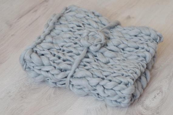 Baby Blanket wool grey plaid newborn photo prop