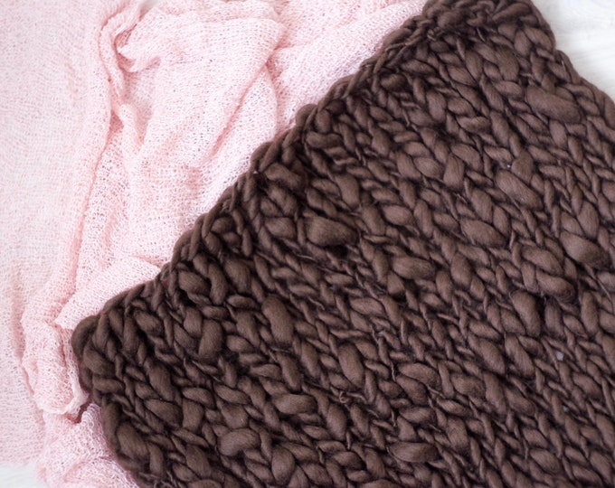 Baby Blanked Newbornprop, Gift for Baby, Chunky Photo Blanket, Mini Blanket, Brown, Chunky Blanket, Home Design Cuddly Blanket