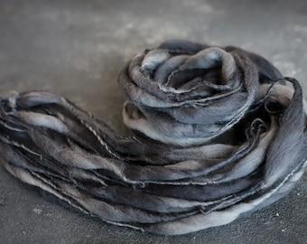 Art chunky Yarn, thick and this yarn, blanket yarn, hand spun merino wool, spun spun effect yarn, wool, slub, thick and thin, grey