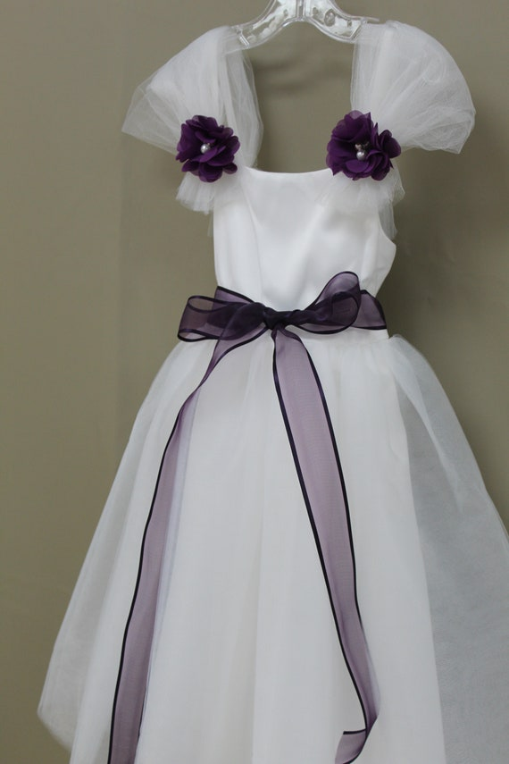 White flower girl dress with purple sash sash available in etsy image 0 mightylinksfo