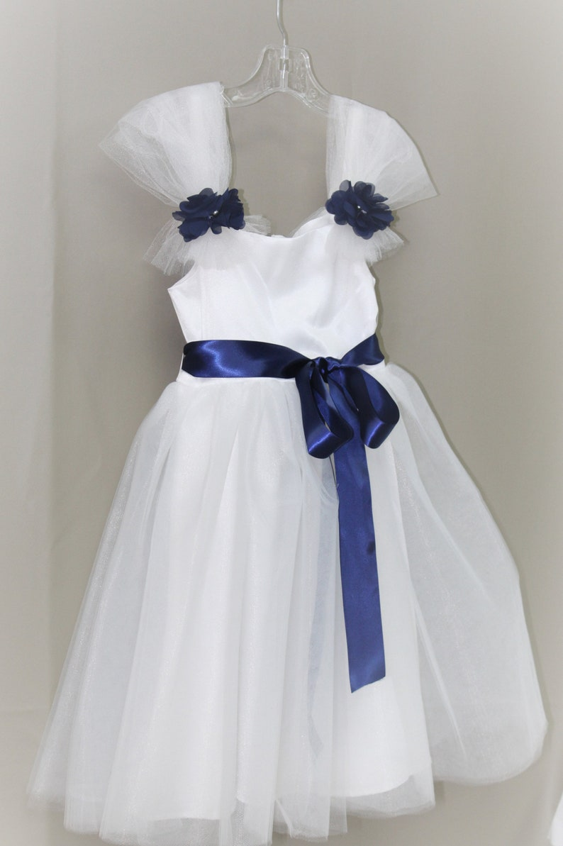 d54db287232 White Flower Girl Dress with Navy Blue Sash SASH AVAILABLE