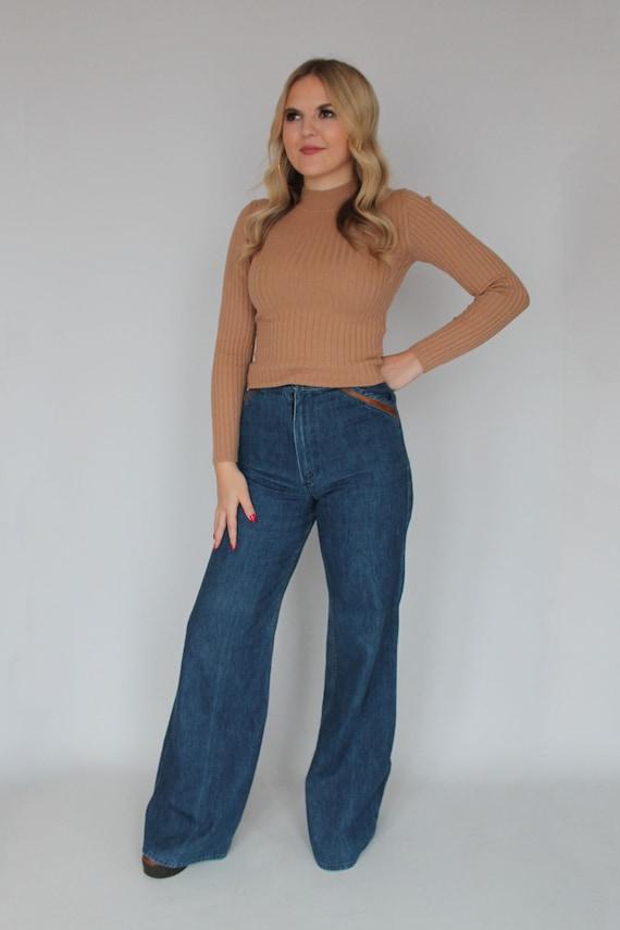 70s Wrangler Flared Jeans / Blue Denim Flared Jean