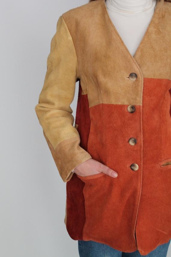 Brown Beige Orange & Peach Real Suede Leather Wes… - image 4