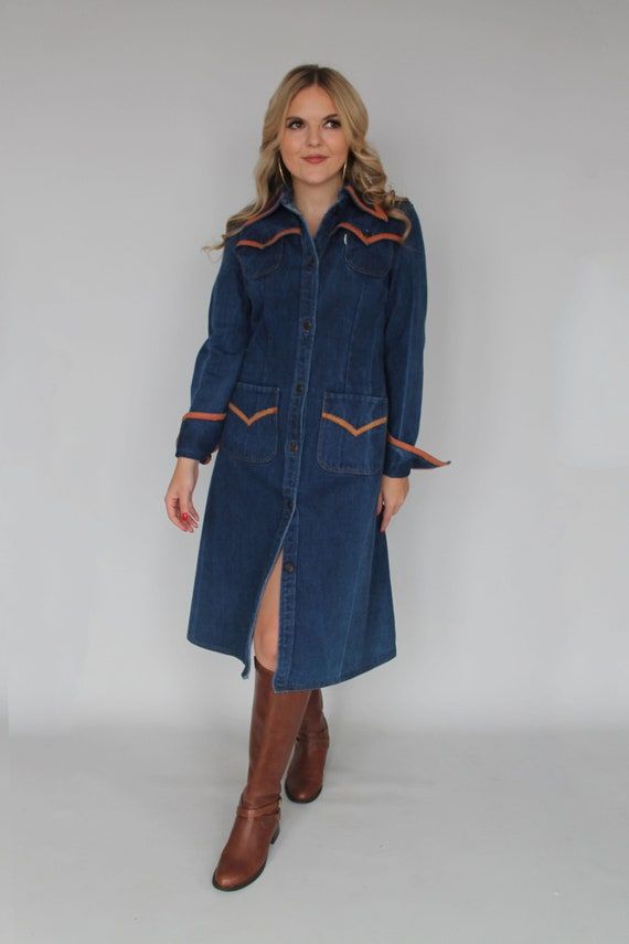 70s Denim Western Shirt Dress / Vintage Creations