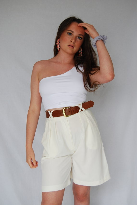 Cream Belted High Waisted Tailored 90s Vintage Sho