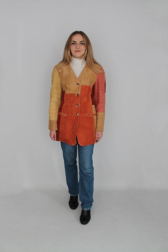 Brown Beige Orange & Peach Real Suede Leather West