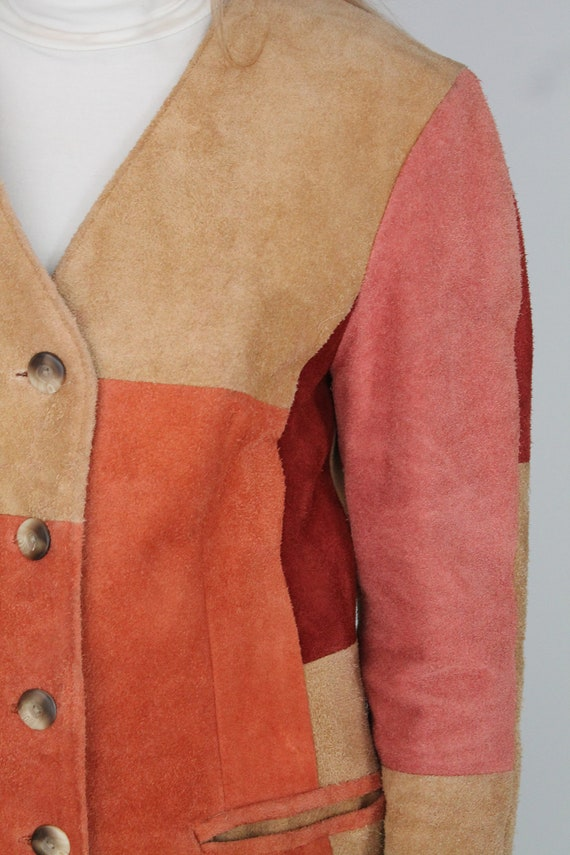 Brown Beige Orange & Peach Real Suede Leather Wes… - image 5