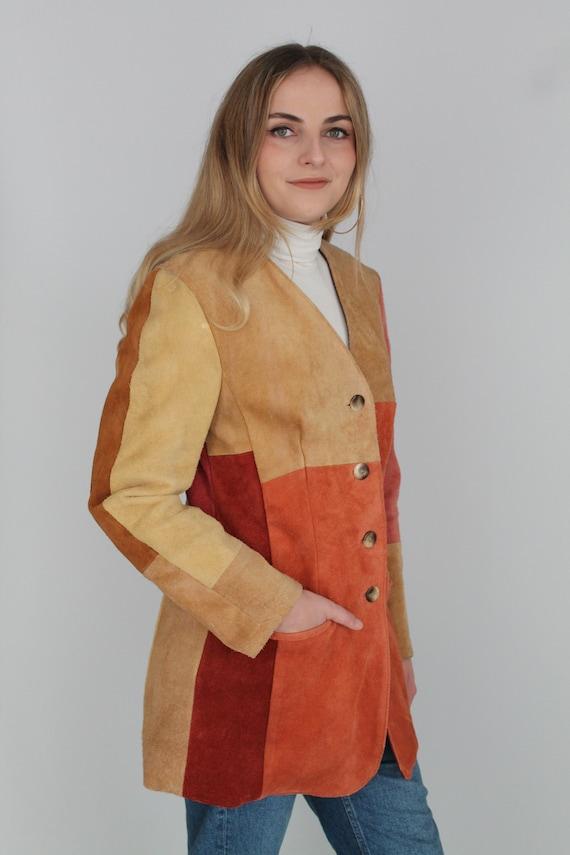 Brown Beige Orange & Peach Real Suede Leather Wes… - image 3