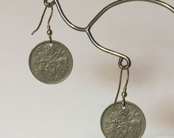 Silver sixpenny earrings with sterling silver earring hooks 1958