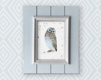 Original watercolour of an owl, I call him Charlie. This is an original, NOT A PRINT. Perfect for a baby or child's room!