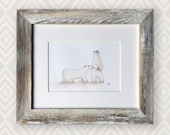Original watercolour of polar bears I call Curious Kamanniuq (Inuit). This is an original, NOT A PRINT. Perfect for a baby or child's room!
