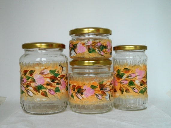 Light orange kitchen canisters set of 4 Painted glass jars Boho glass  storage jars Colorful glass storage containers