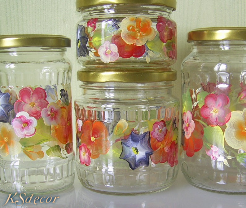 Colorful Kitchen Canisters Set Of 4 Glass Cookie Jar Hand Painted Jars  Flour Sugar Coffee Jars Kitchen Organizer Decorative Canisters