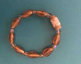 Copper and Topaz Swarovski Bead Bracelet