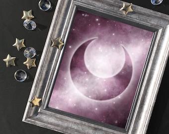 Crescent Moon Symbol Art Print | Metallic Luster Photo Print | Planetary Guardians