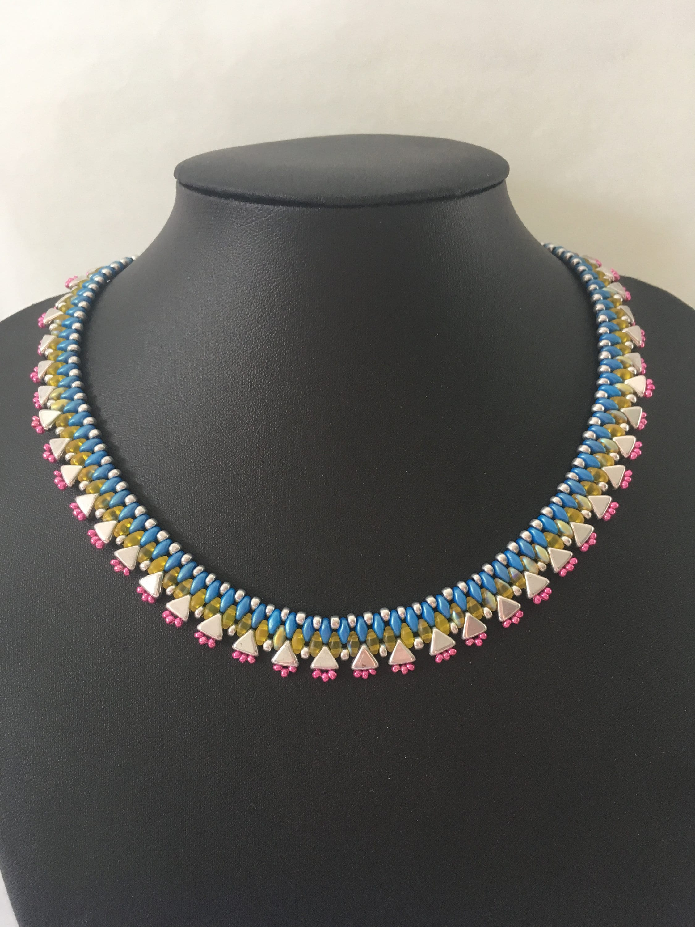 Grey Pink and Yellow Seed Beaded Necklace