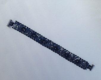 black hex cut peyote flower bracelet hex cut black beads peyote stitch flower beads great embellishment emo style hipster love