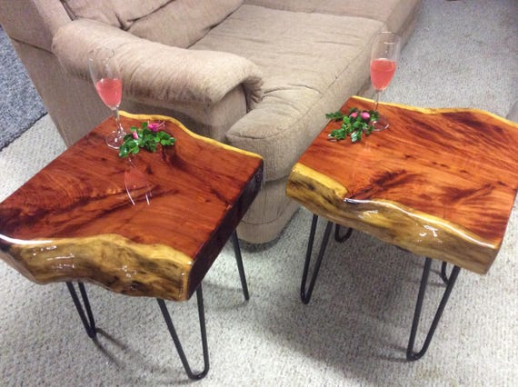 Pair End Tables Set Of Two End Tables Rustic Furniture Etsy