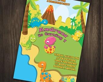 Dinosaur Birthday Invitation, Dinosaur Invitation, Dino Birthday Invitation, Dino Party, First Birthday, 1st Birthday Invitation