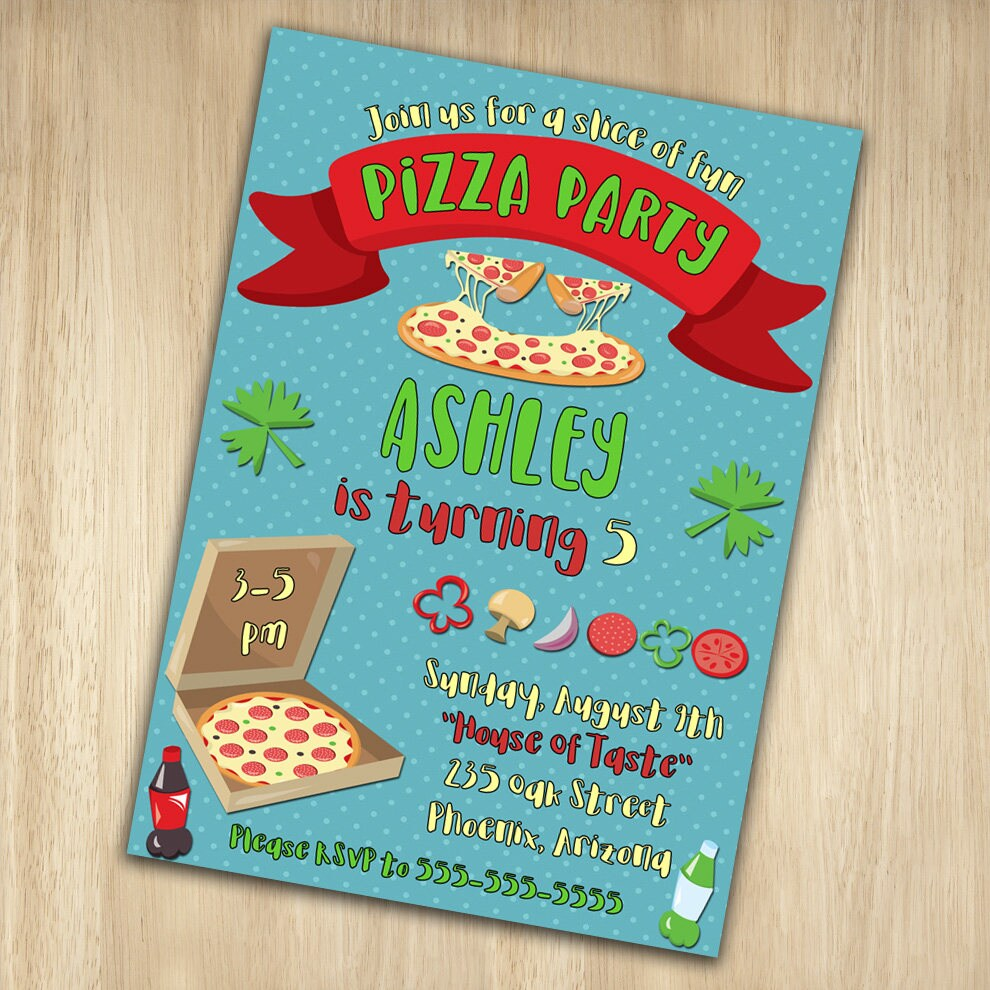 Pizza Birthday Invitation Pizza Birthday Party Invitation
