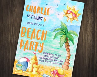 Beach Birthday Invitation, Beach Birthday Party Invitation, Beach Invitation, Beach Party, Beach Birthday Invite, Summer Birthday Invitation